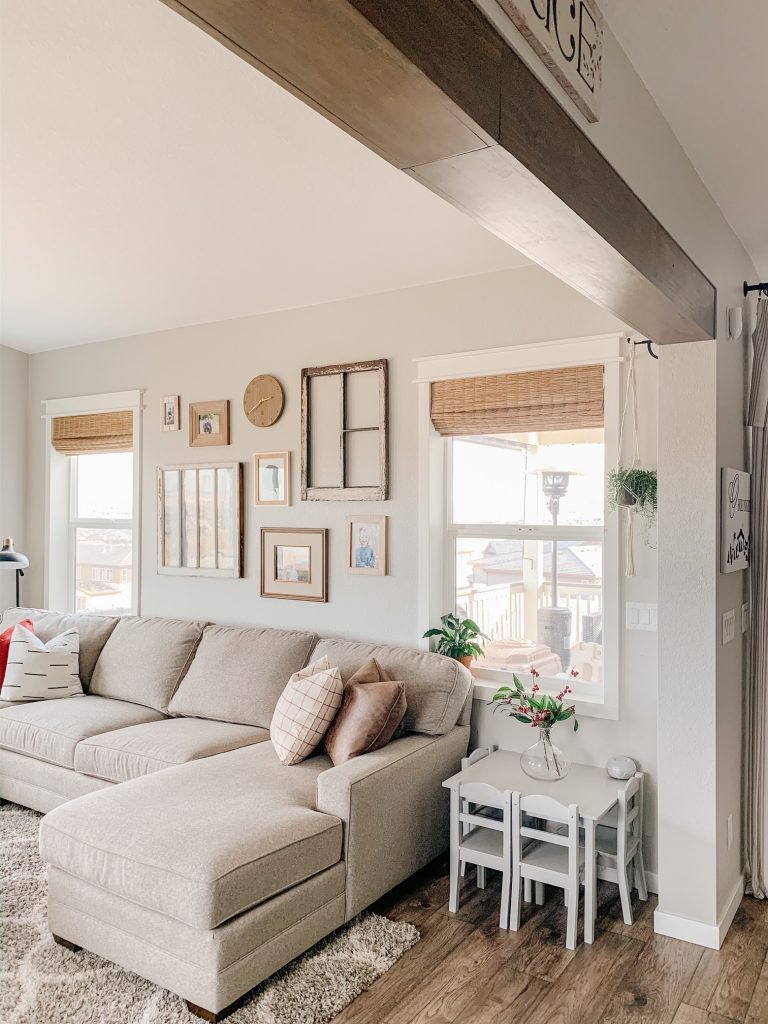 faux wood beam in a living room