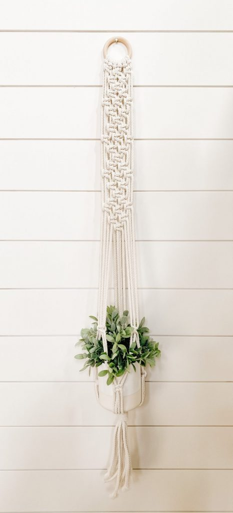 diy macrame plant hanger with box knot design