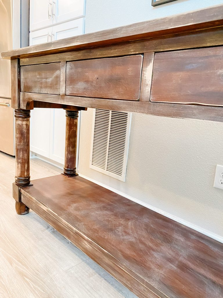 console table after sanding