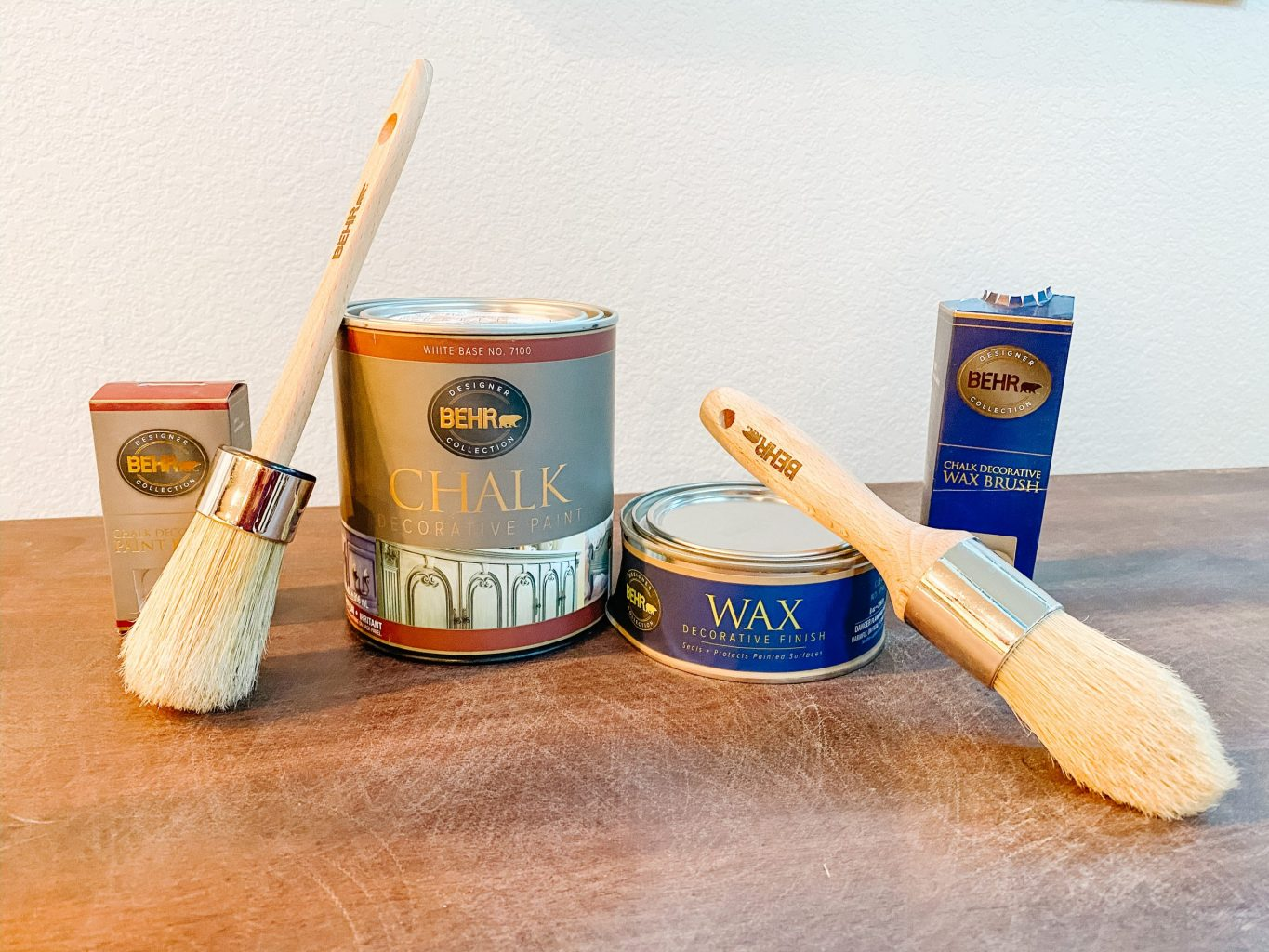 supplies for chalk paint table makeover