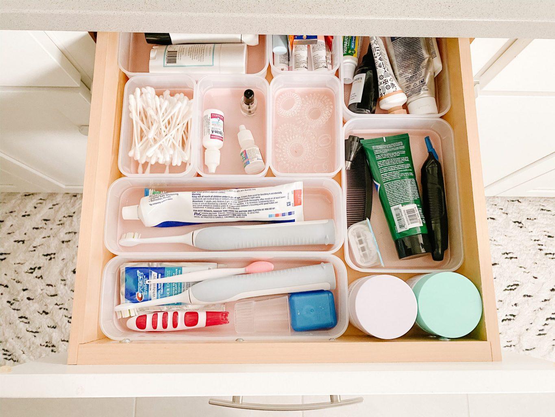 top bathroom drawer with organizer bins