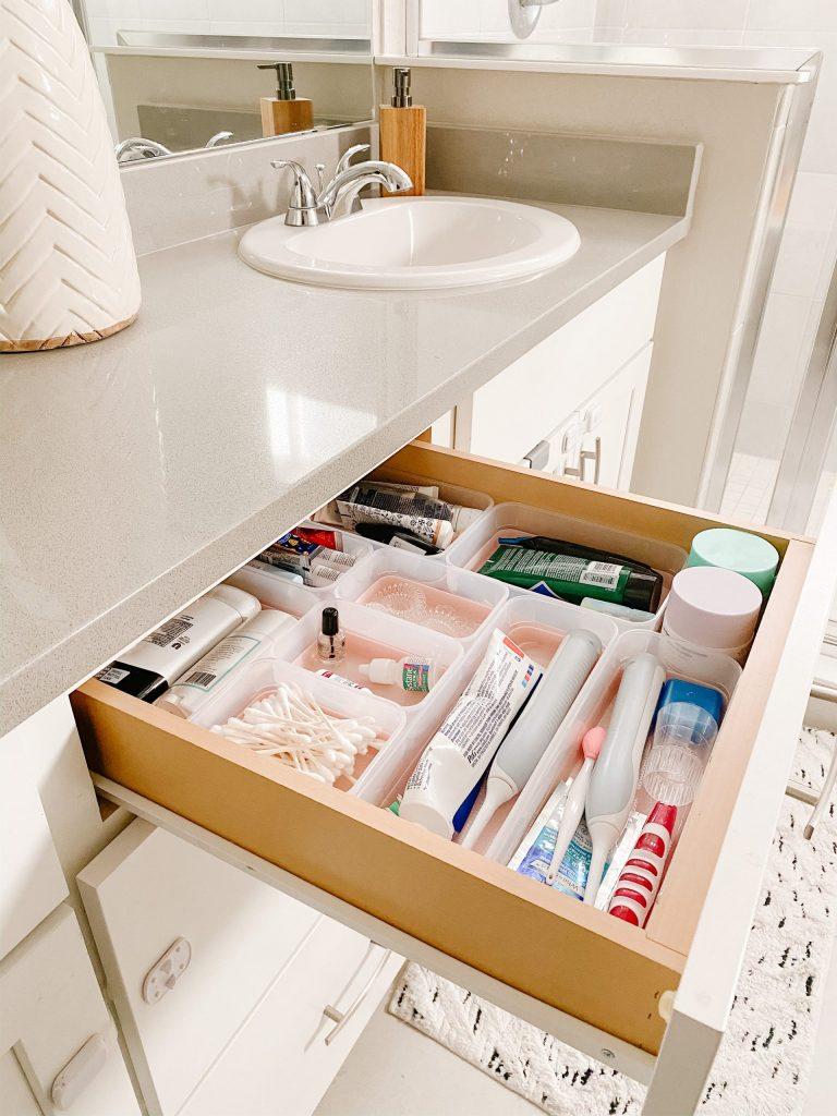 bathroom drawer with organizer bins