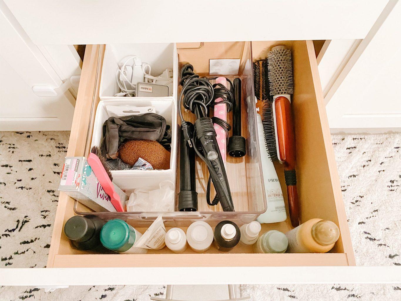 bottom bathroom drawer with organizer bins