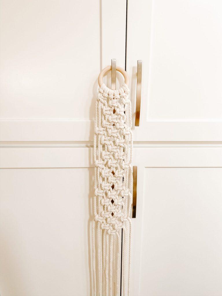 macrame box knots on wooden hoop