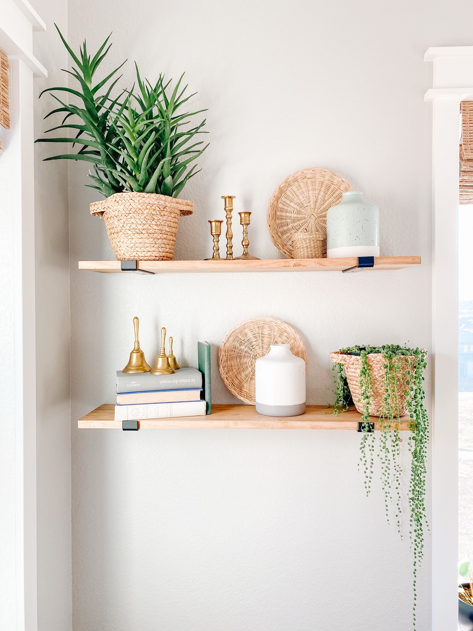 home decor styled shelves in a farmhouse or boho style