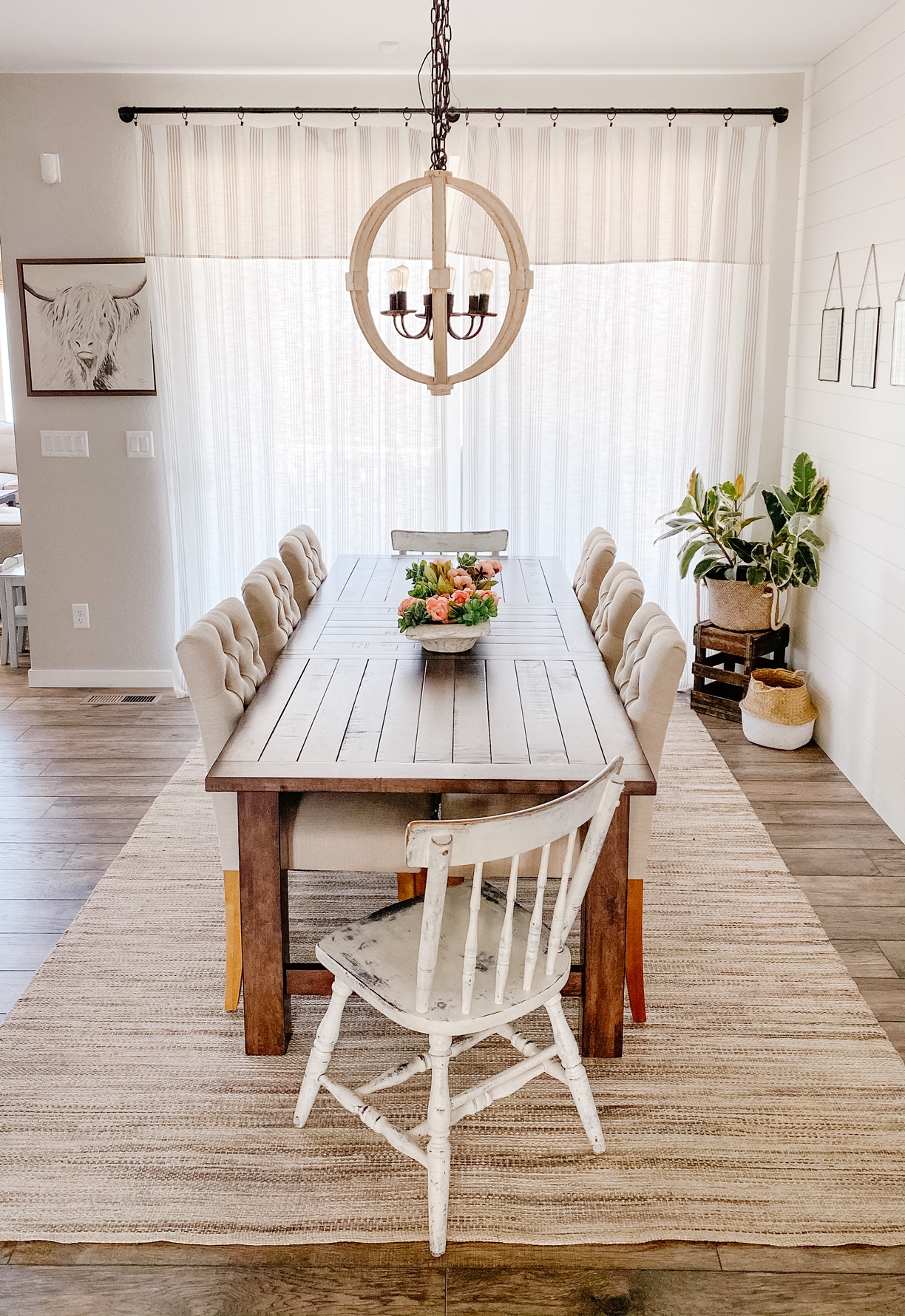 dining room decor with cheap curtains made from tablecloths