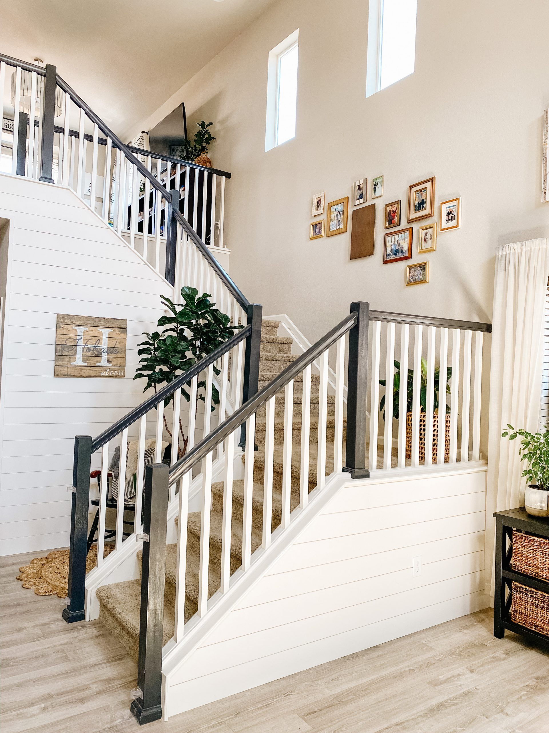 black and white staircase railing