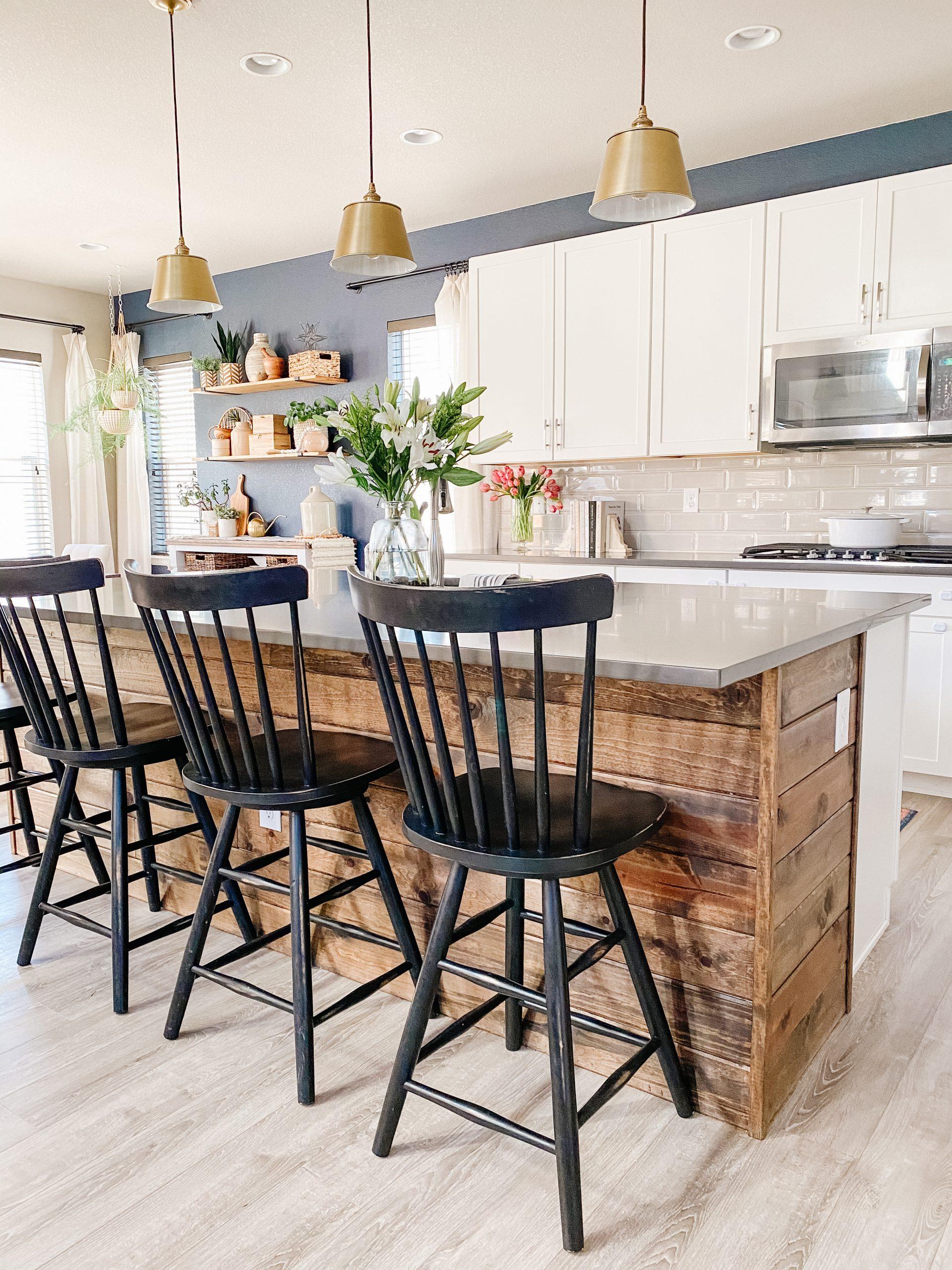 black windsor style kitchen island stools