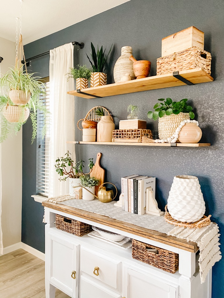 Top 5 tips for how to decorate open shelves or floating shelves in your kitchen dining room or living room