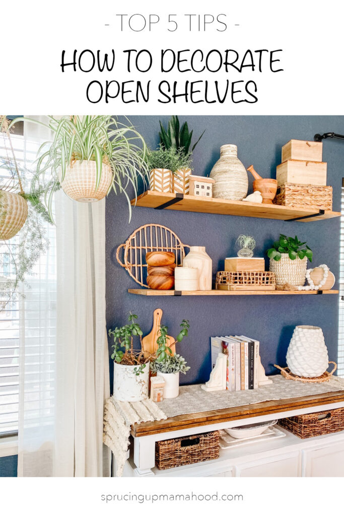 how to decorate open shelves
