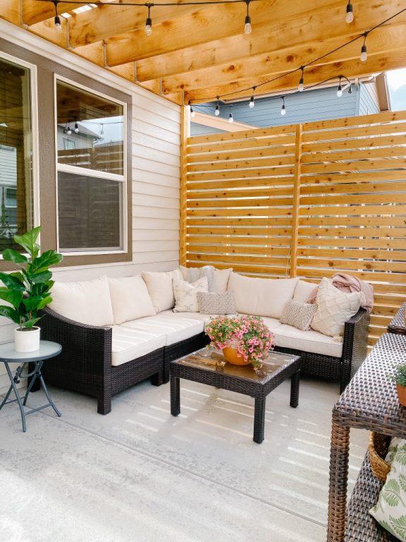outdoor furniture diy cedar pergola with privacy wall