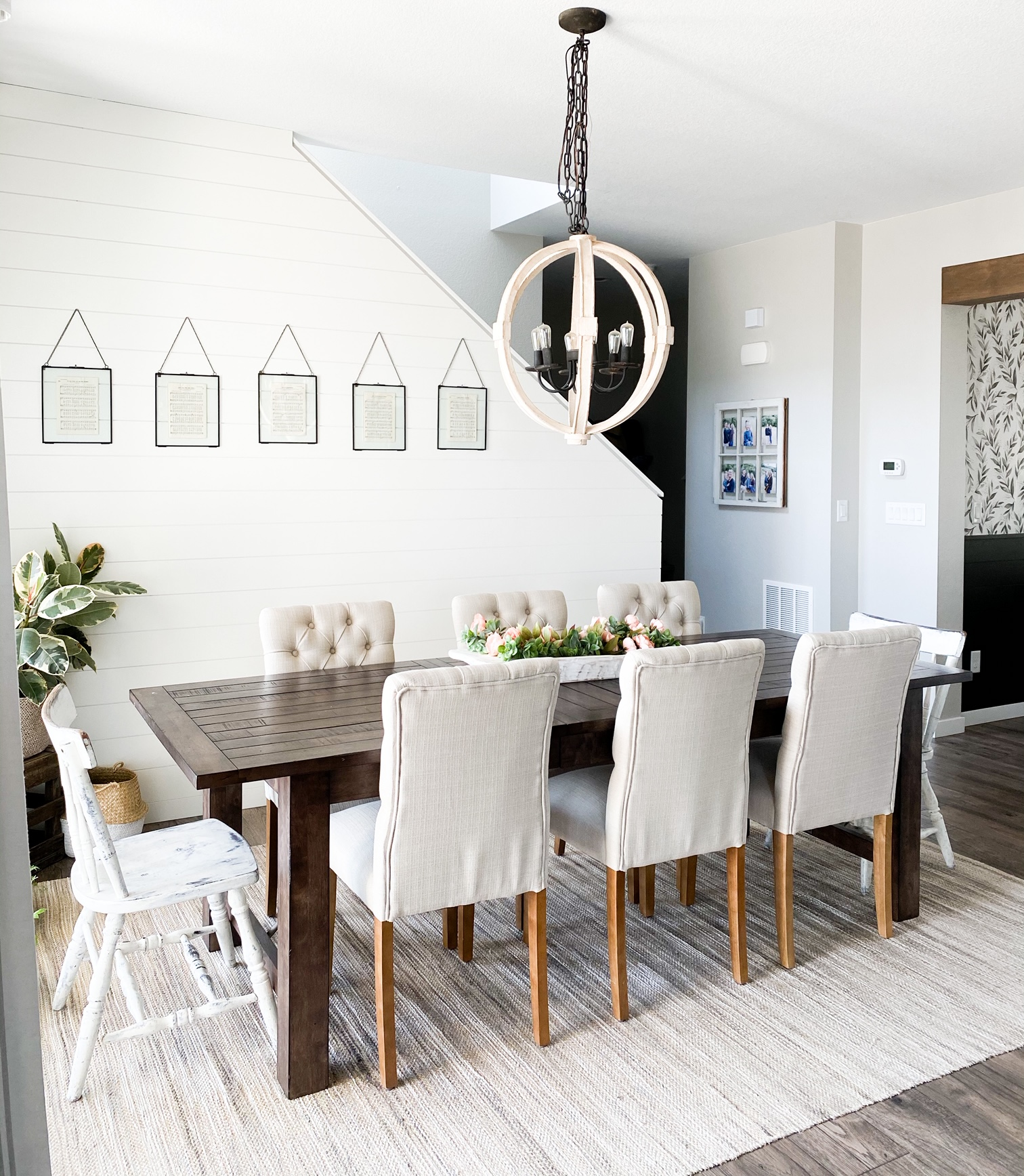 dining room with shiplap painted white