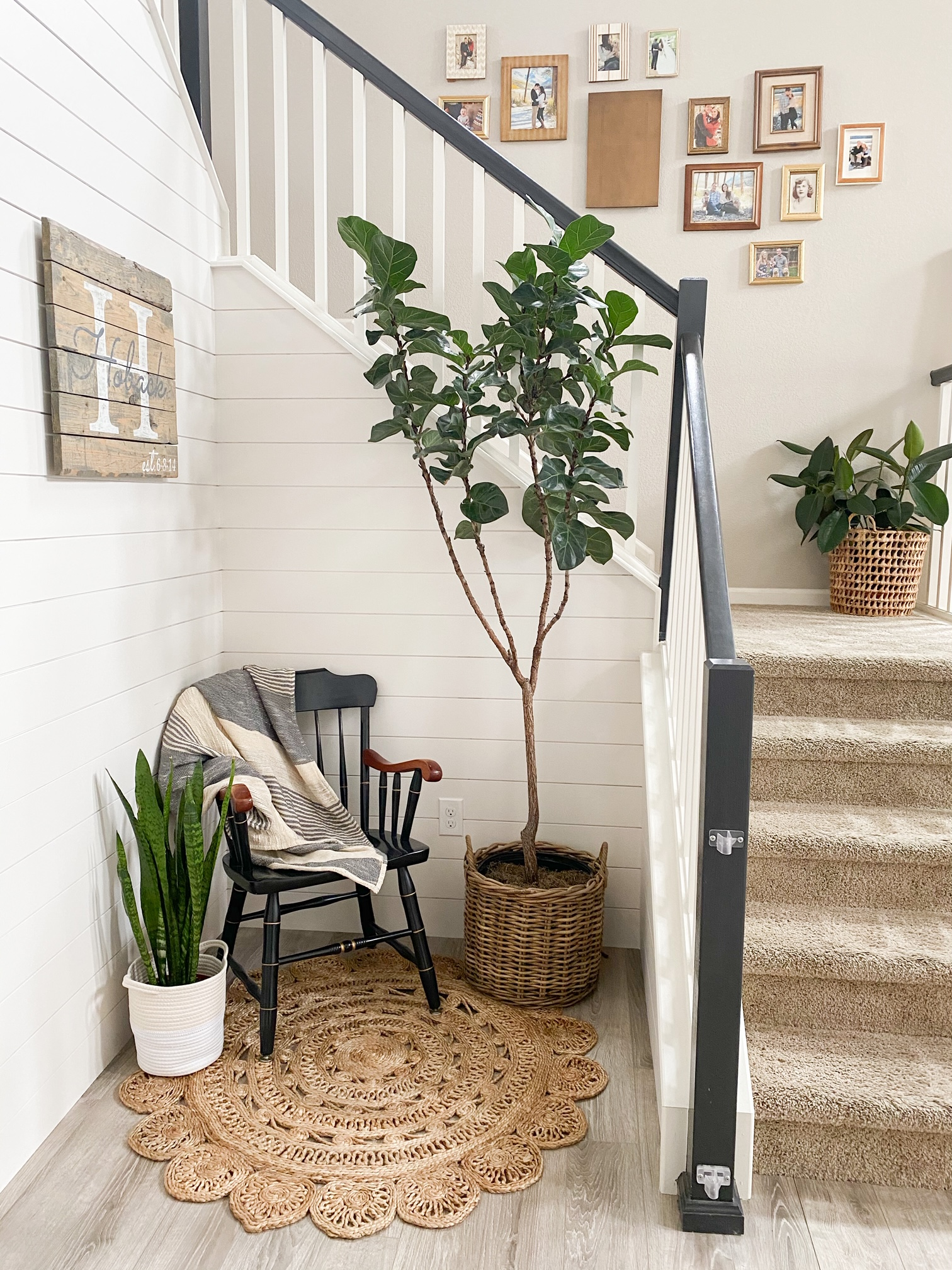 stairway with shiplap and white paint