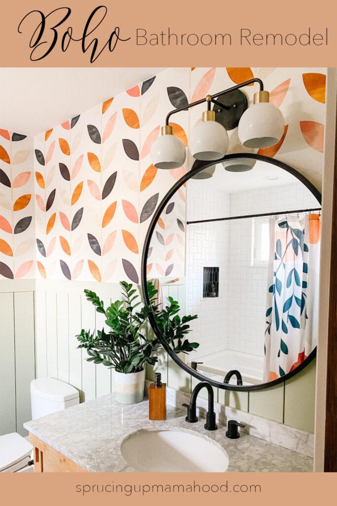 boho bathroom remodel with peel and stick boho wallpaper options
