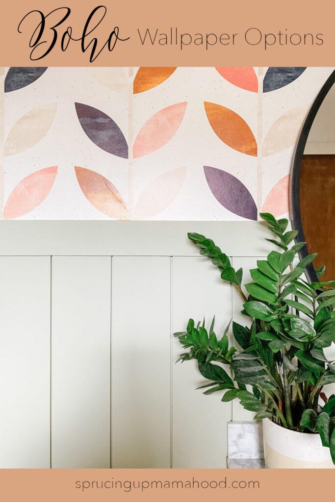 boho wallpaper peel and stick options and boho bathroom remodel
