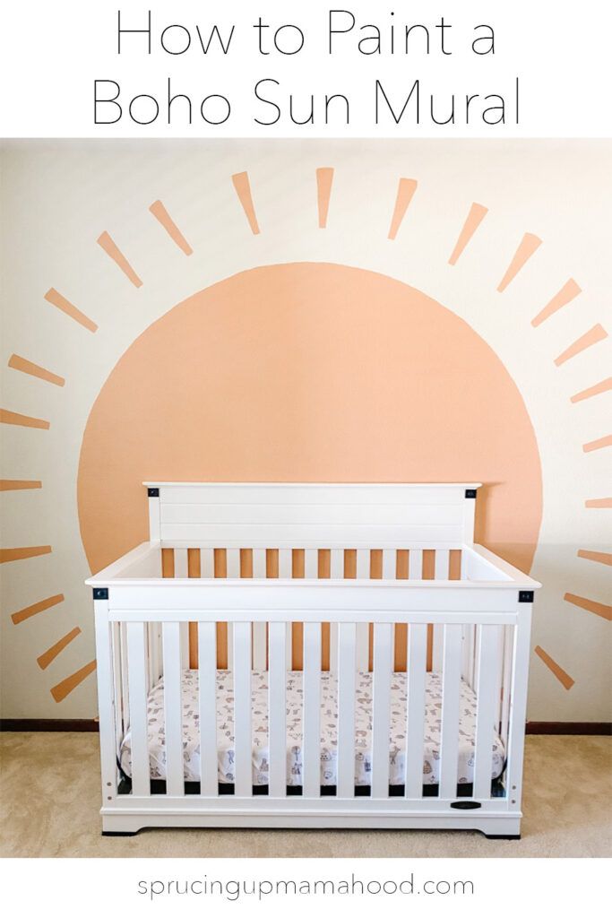 How to paint a DIY boho sun mural with a perfect circle
