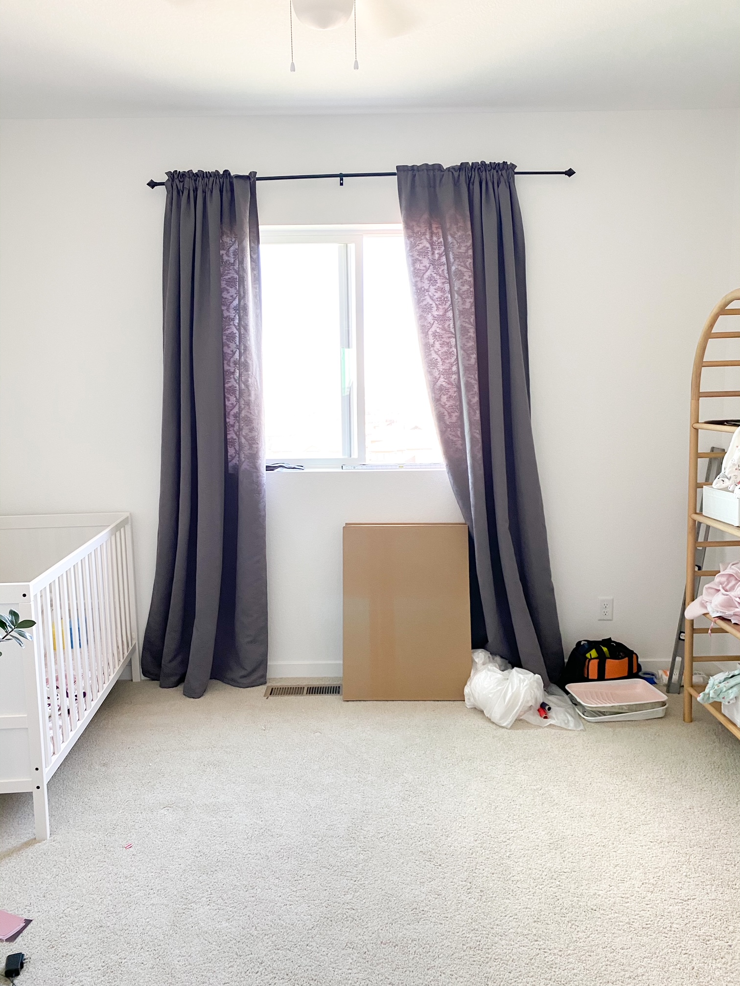 Room with gray curtains