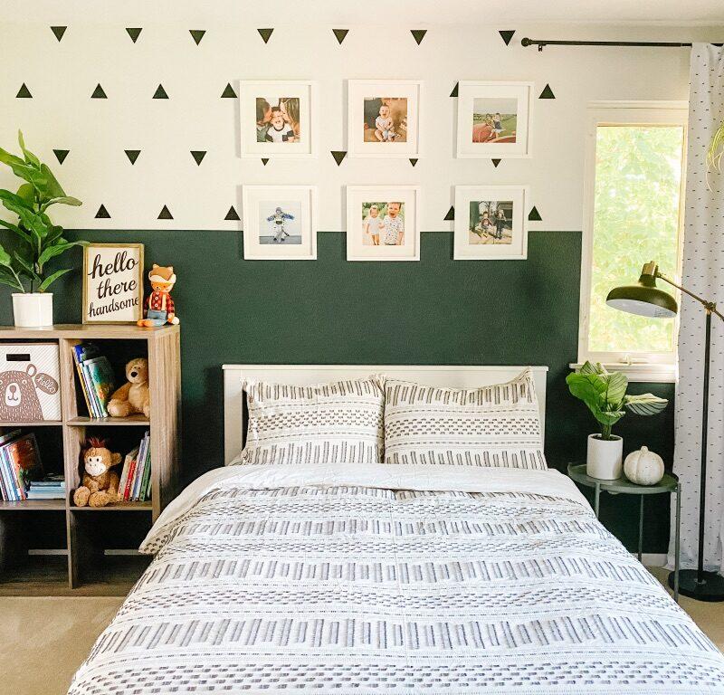 Boys Boho Bedroom Idea with Colorblock Wall