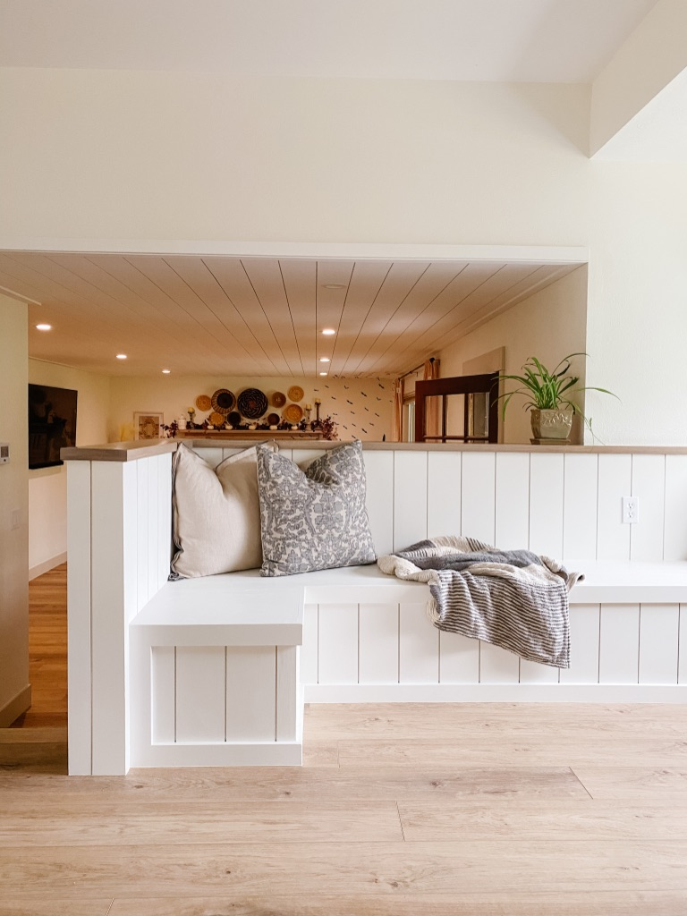 kitchen banquette bench with white shiplap