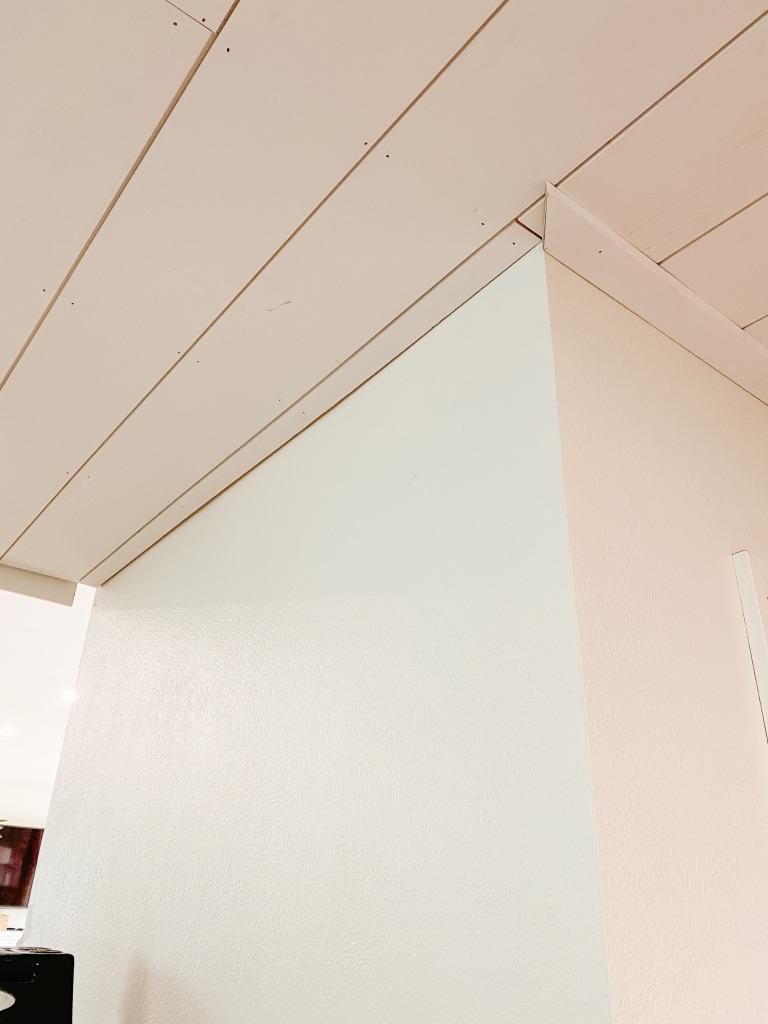 trim piece at shiplap ceiling