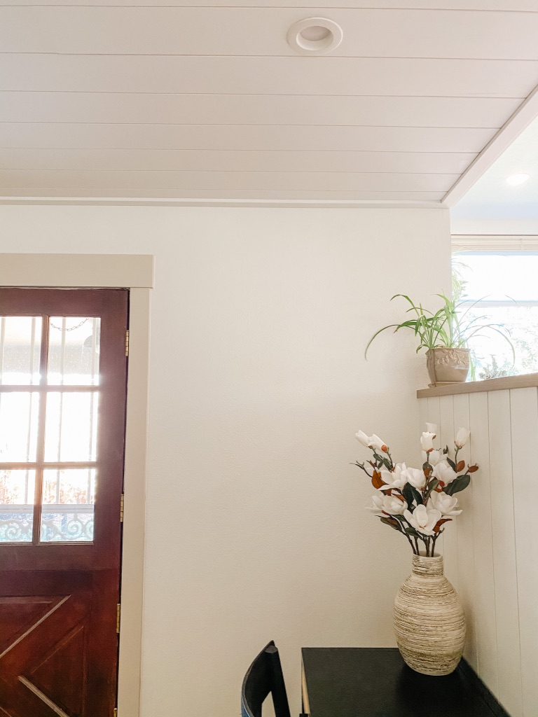 shiplap ceiling after