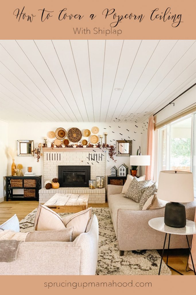 how to cover a popcorn ceiling with shiplap