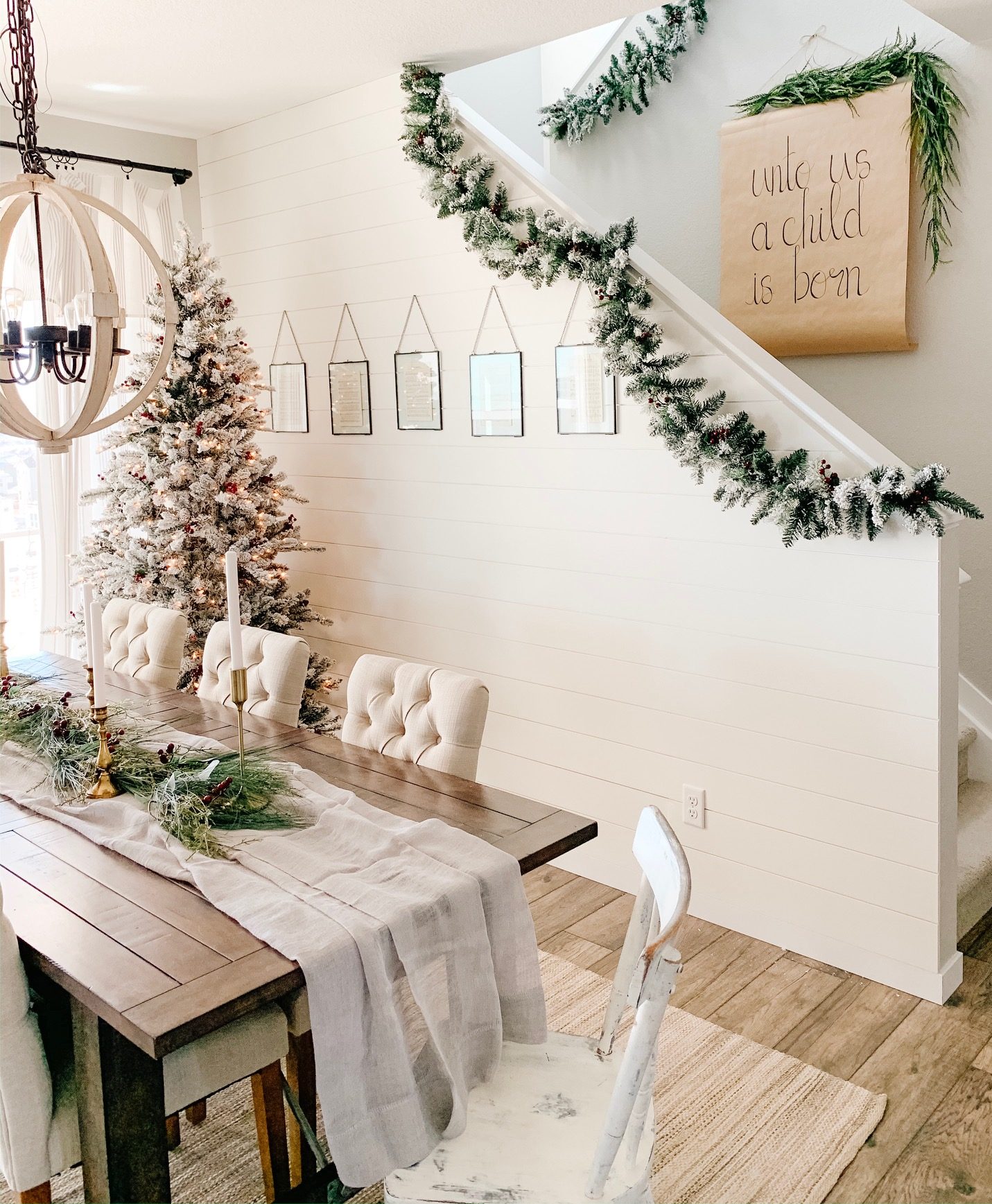 dining room with affordable christmas decor from walmart