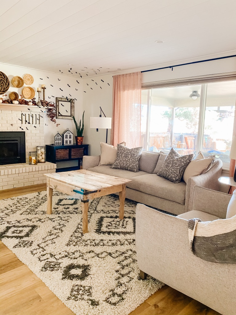 boho style family room with neutral shag rug and woodley's furniture