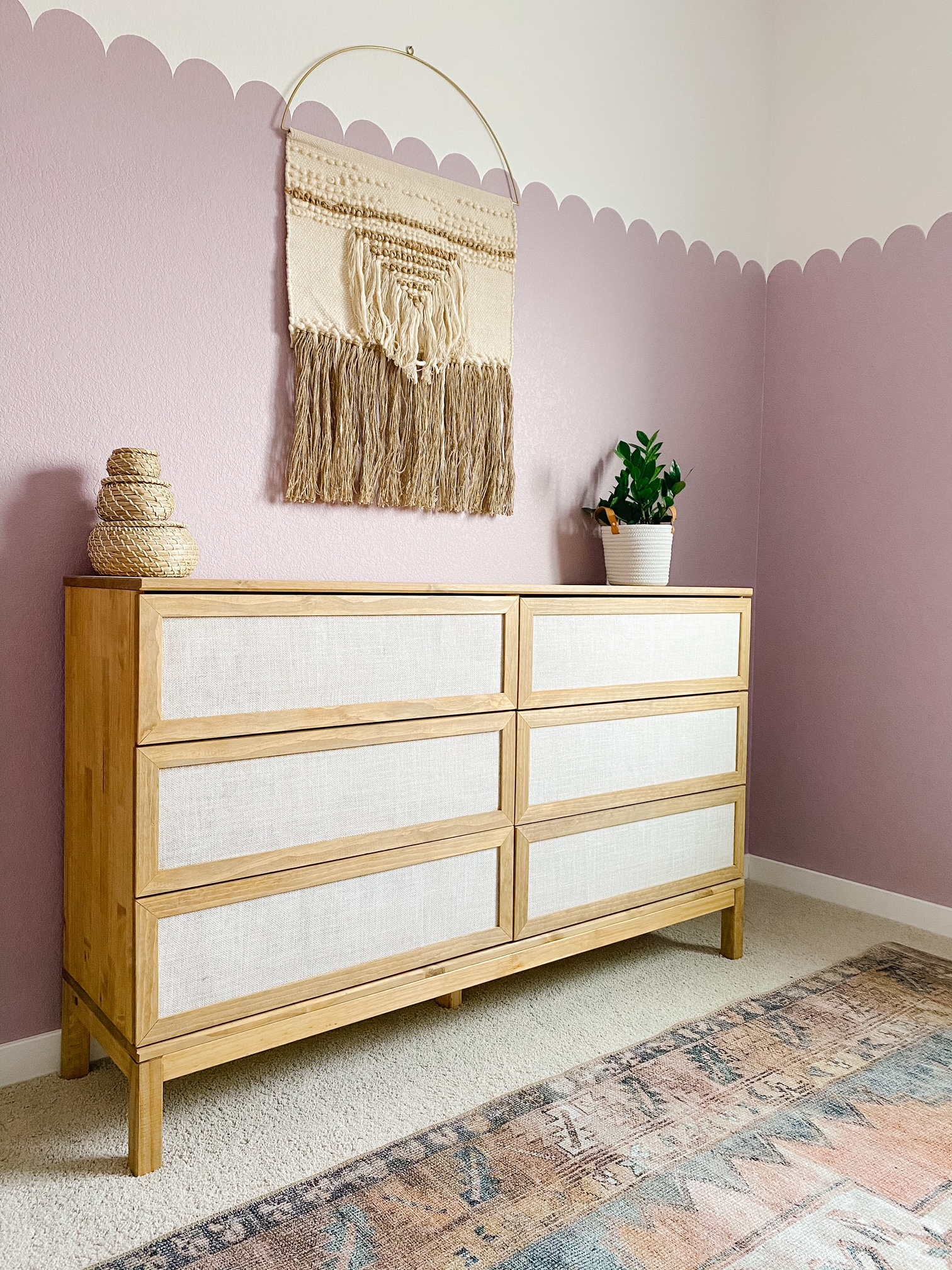 Ikea dresser hack with purple walls and rug