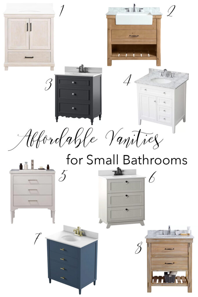 These are all of my favorite affordable small vanity options! Perfect for small bathrooms and master bathrooms! #smallvanities #bathvanities #vanitieswithdrawers #30invanities #36invanities