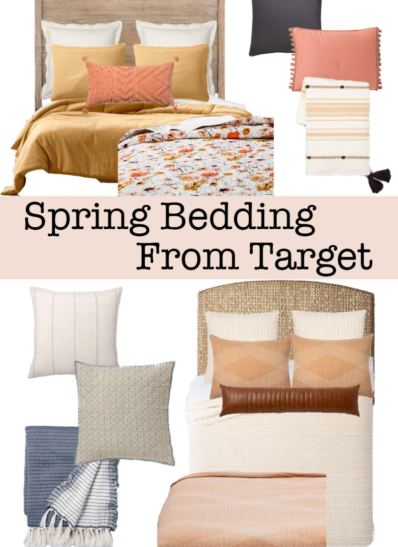 These are some of my favorite spring bedding ideas from Target! Cute duvet covers, bed pillows and blankets! #springbedding #springbedroomideas #bedroomdecor #springdecor
