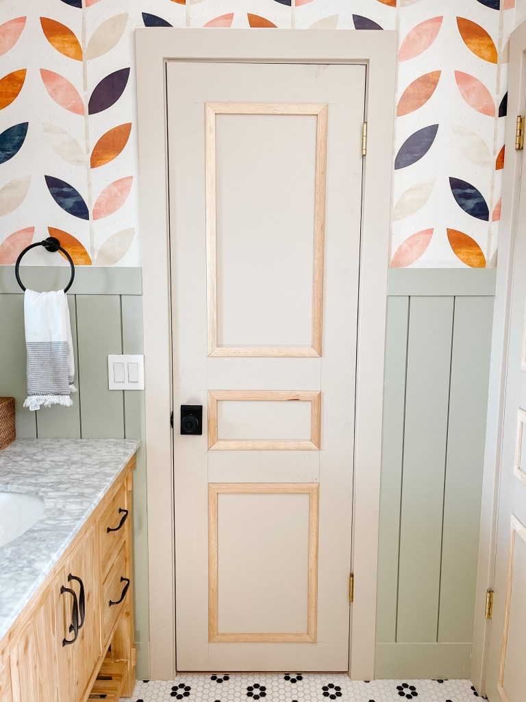how to add moulding to a hollow core flat panel door