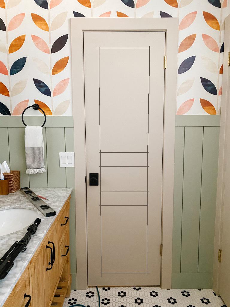 Adding guide lines to flat panel door for diy door moulding