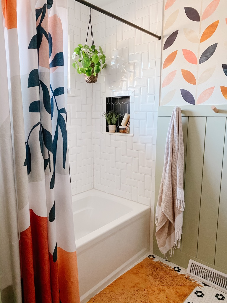 Fun and colorful boho shower curtain from Society6 for Bathroom Remodel