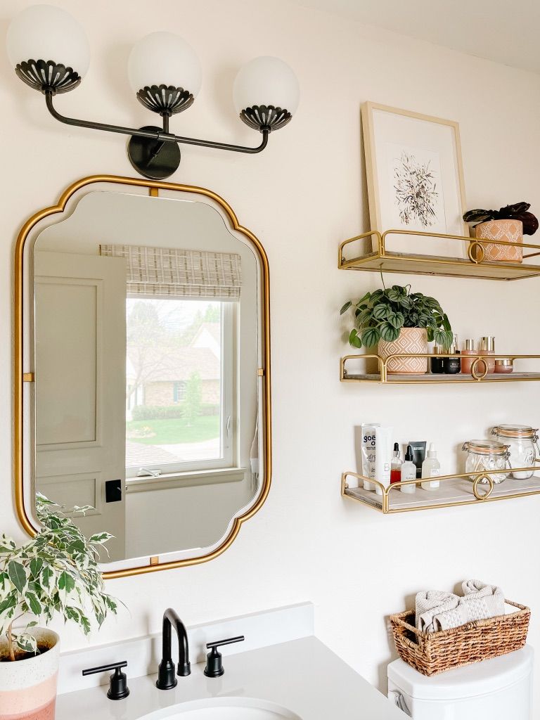 affordable bathroom accessories and decor on gold bathroom shelves