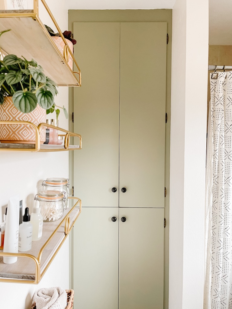 painted bathroom linen cabinet doors with behr muted sage paint