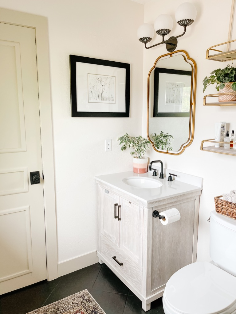 affordable oak vanity for small master bath update