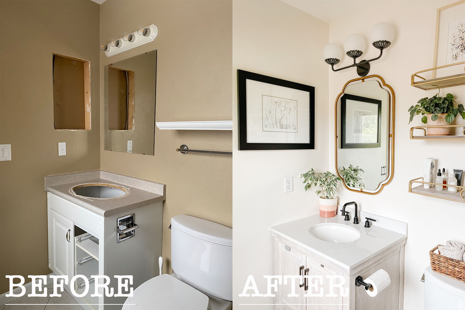 before and after small bathroom makeover ideas