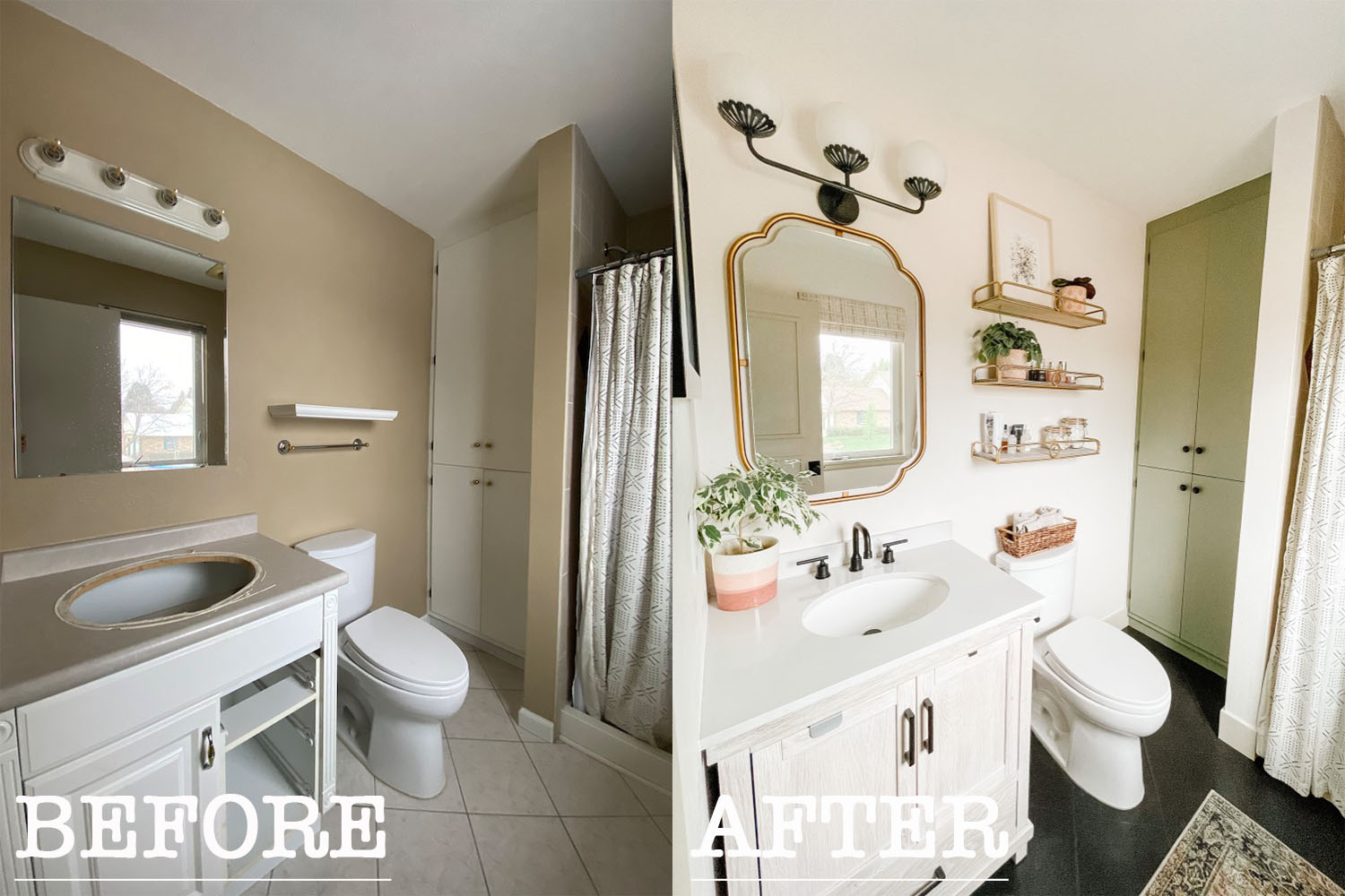 before and after small bathroom makeover