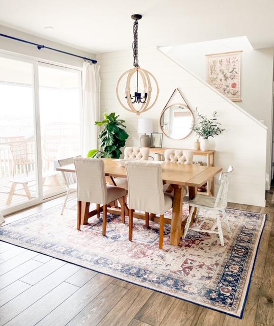 Boho dining room rug with farmhouse World Market table.