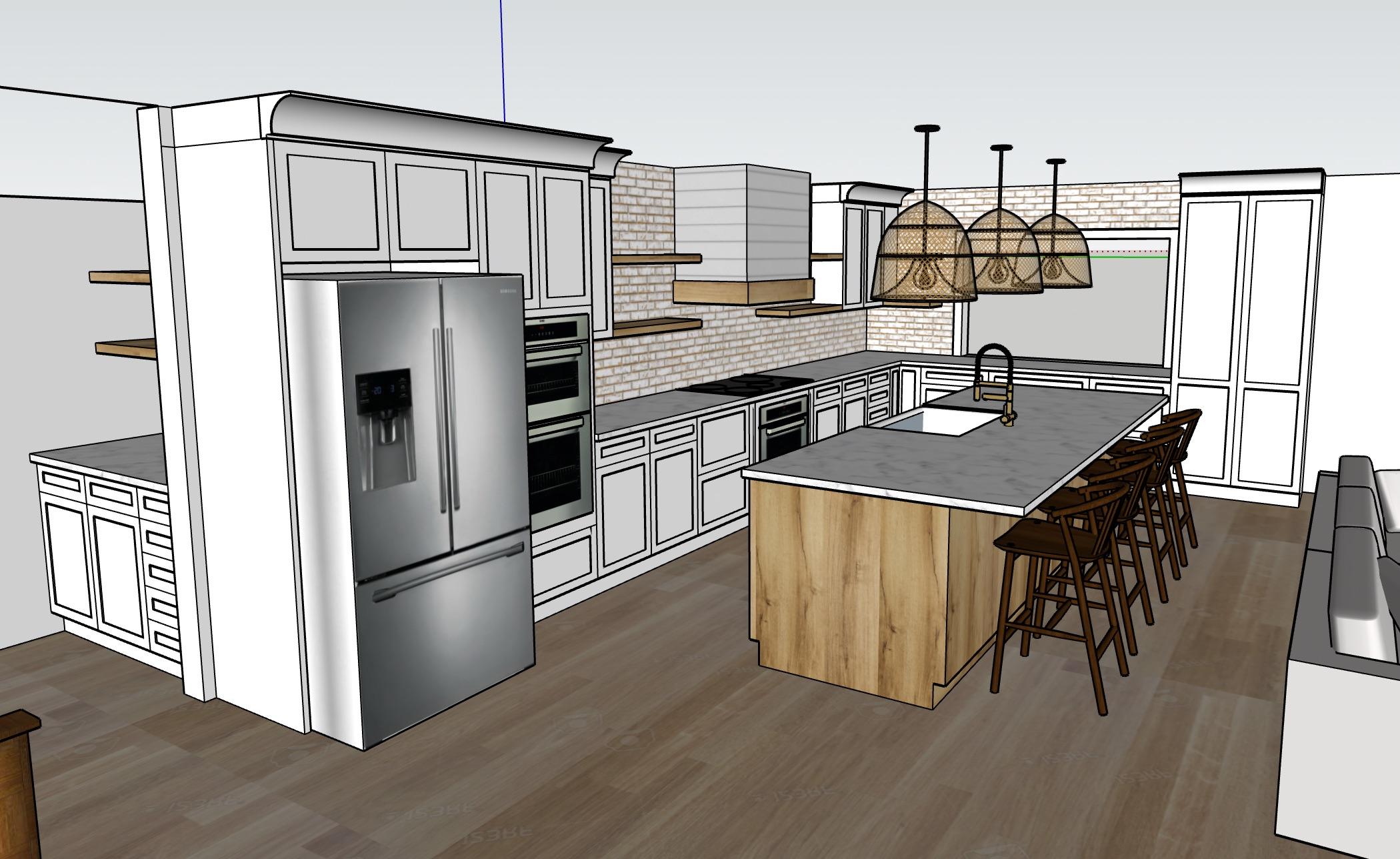 Kitchen Remodel Sketch Up Rendering