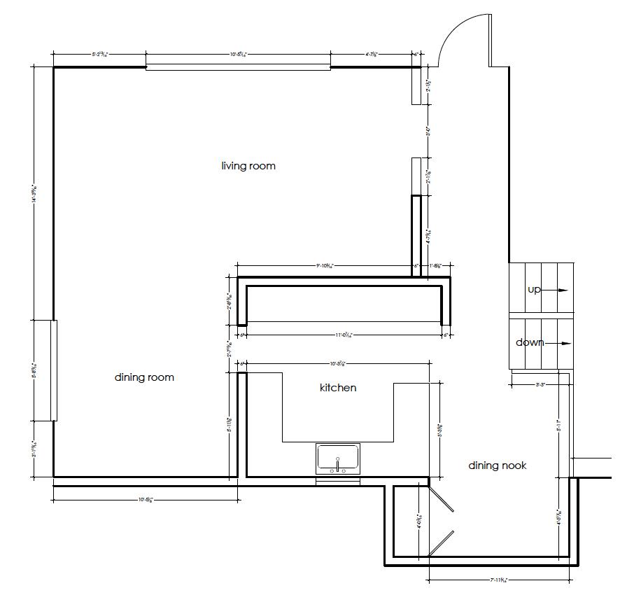 original 1970's kitchen floorplan