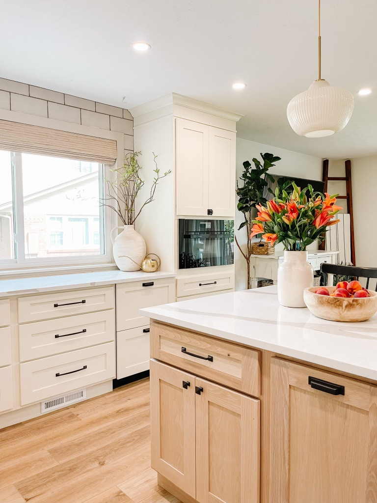 kitchen remodel with cream and white oak cabinets