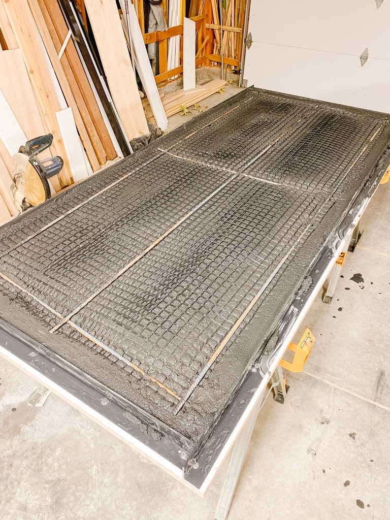 diy concrete table top with mesh and rebar reinforcements