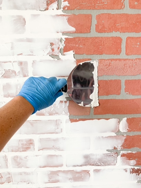 How to German schmear faux brick paneling.