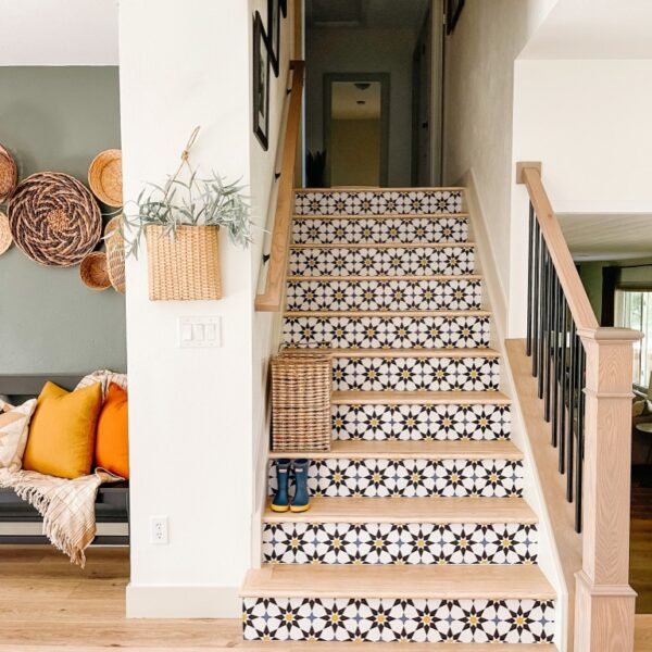 Colorful DIY Stair Risers with Peel and Stick Wallpaper