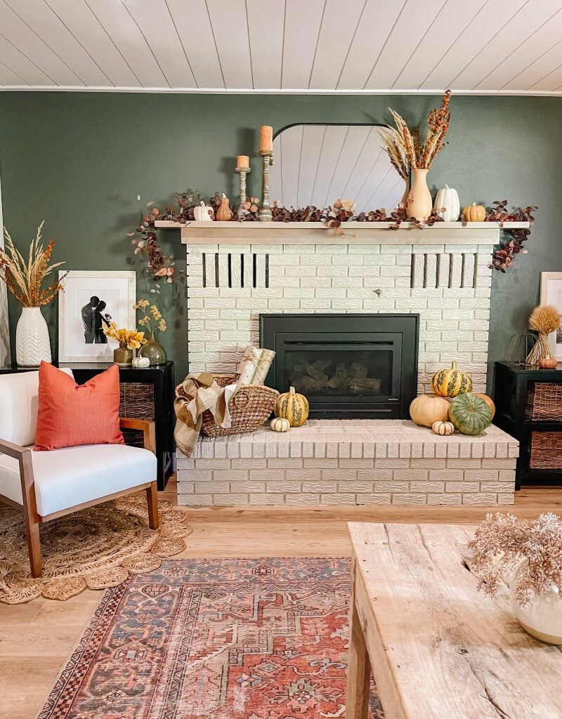 how to decorate your fireplace mantel for fall on a budget