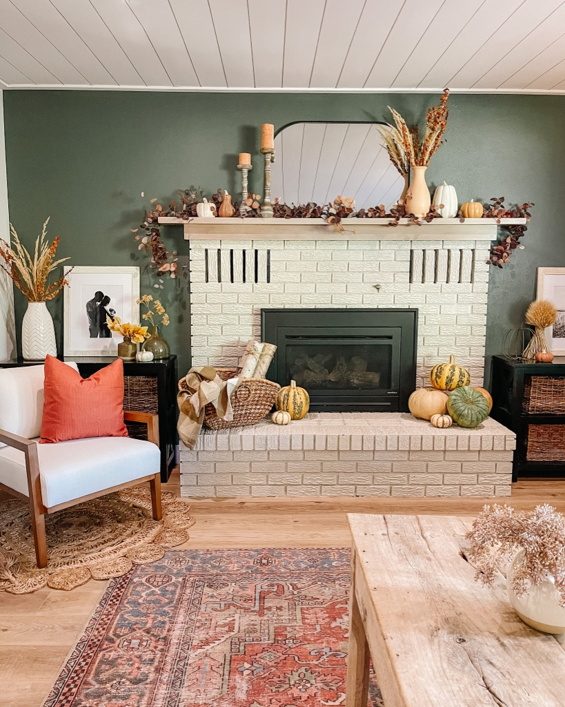 simple and affordable fall fireplace decoration ideas and tips