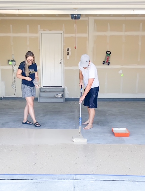 painting on garage epoxy floors and applying paint chips.